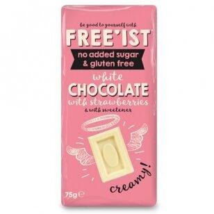 Baltas šokoladas braškių skonio be cukraus FREE'IST WHITE CHOC STRAWB