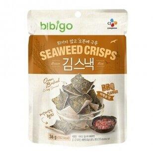 Jūros dumblių ir rudųjų ryžių traškučiai BIBGO BBQ 20g