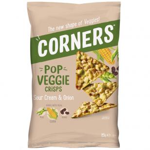 Traškučiai CORNERS Pop Veggie Crisps (Corn, Peas and Beans)  su grietine ir svogūnais 85g
