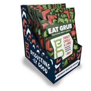 Traškūs skrudinti svirpliai EAT GRUB (ROASTE CRUNCHED CRICKETS) SWEET CHILLI & LIME 12g