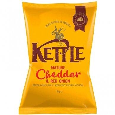 Traškučiai KETTLE Chips Mature Chedar & Red Onion 80g