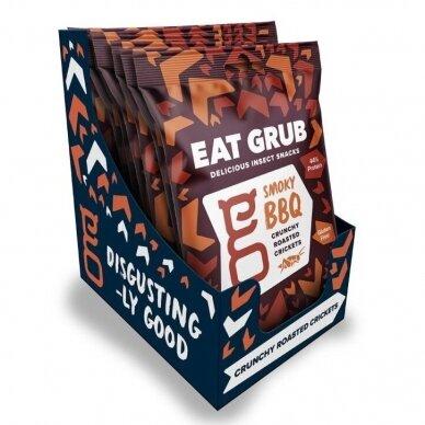 Traškūs skrudinti svirpliai EAT GRUB ( CRUNCHY ROASTED CRICKETS) SMOKY BBQ 12g